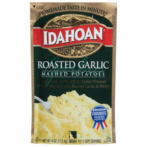 Idahoan Roasted Garlic Mashed Potatoes Perspective: front