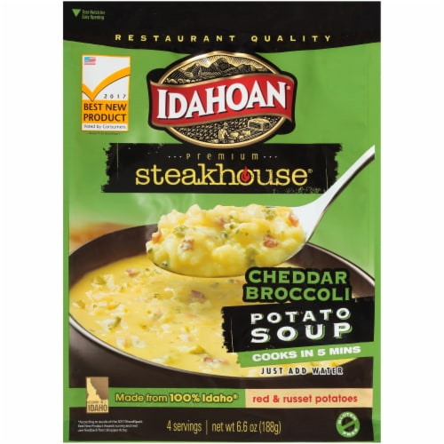Idahoan Steakhouse Chedder Broccoli Potato Soup Perspective: front