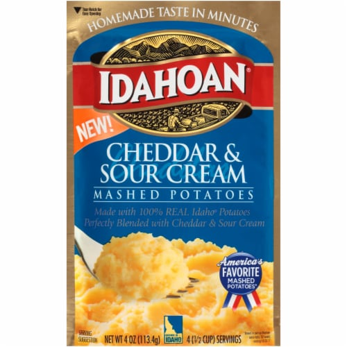 Idahoan Cheddar & Sour Cream Mashed Potatoes Perspective: front