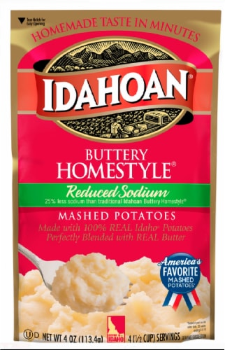 Idahoan Buttery Homestyle Reduced Sodium Mashed Potatoes Perspective: front