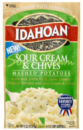 Idahoan Sour Cream & Chives Mashed Potatoes Perspective: front