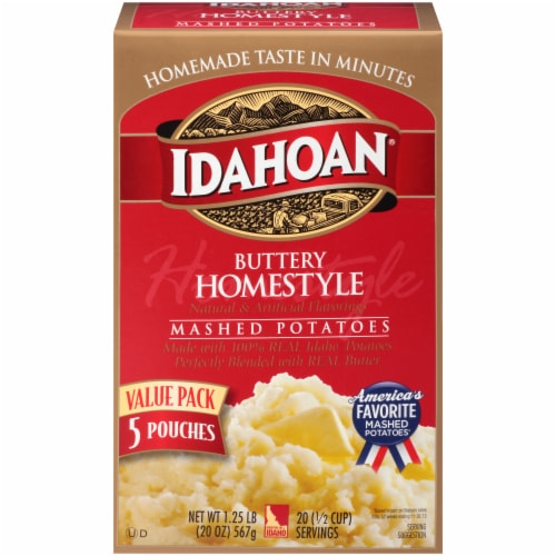 Idahoan Buttery Homestlye Mashed Potatoes 5 Count Perspective: front