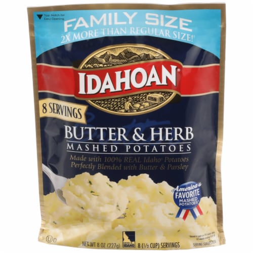 Idahoan Butter & Herb Mashed Potatoes Perspective: front
