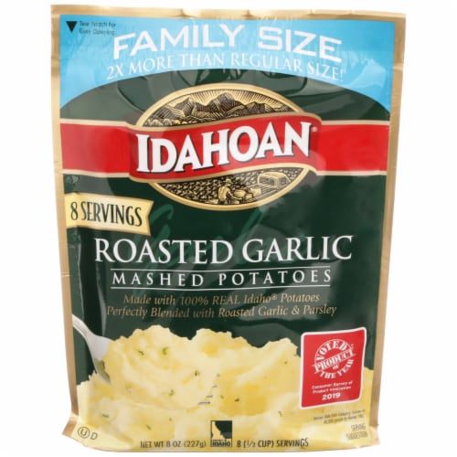 Idahoan Roasted Garlic Instant Mashed Potatoes Family Size Perspective: front