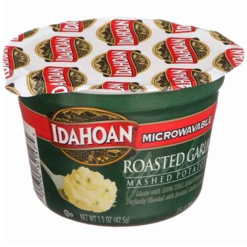 Idahoan Roasted Garlic Mashed Potato Microwavable Cup Perspective: front