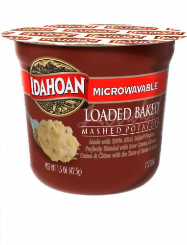 Idahoan Four Cheese Mashed Potatoes Microwavable Cups Perspective: front