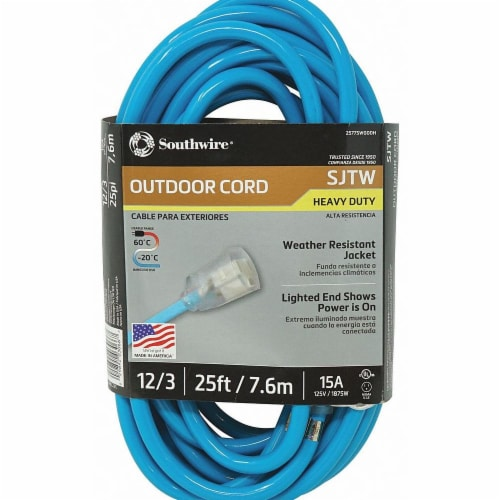 Southwire Extension Cord,12 AWG,125VAC,25 ft. L  2577SW000H Perspective: front