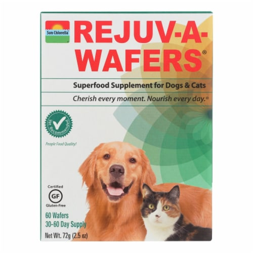 Sun Chlorella Rejuv-A-Wafers Superfood Supplement for Dogs and Cats - 60 Wafers Perspective: front