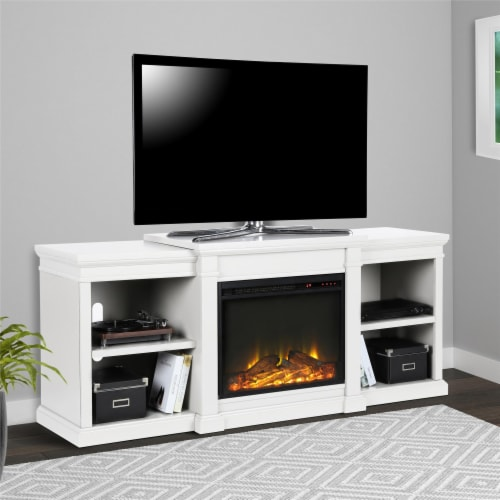 Manchester Electric Fireplace TV Stand for TVs up to 70 , White Perspective: front