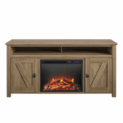 Ameriwood Home Farmington 60'' Fireplace TV Stand in Light Pine Perspective: front