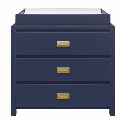 Monarch Hill Haven 3 Drawer Navy Changing Dresser Perspective: front