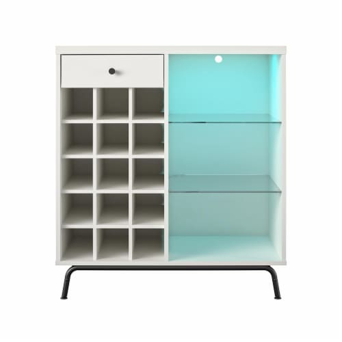 Melbourne Bar Cabinet, White Perspective: front
