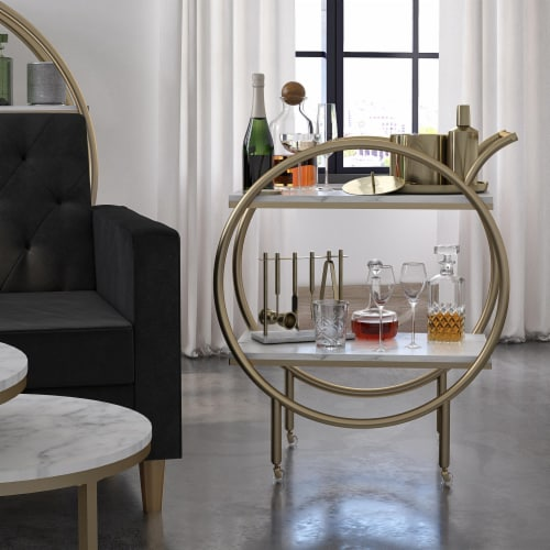 CosmoLiving by Cosmopolitan Amelia Round Bar Cart, White Marble Perspective: front