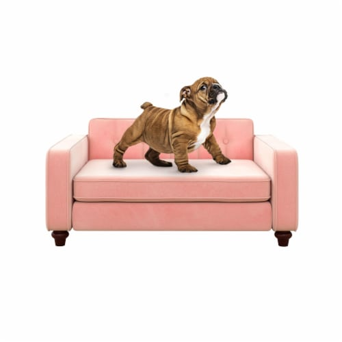 Ollie & Hutch Pin Tufted Pet Sofa, Small/Medium, Pink Velvet Perspective: front