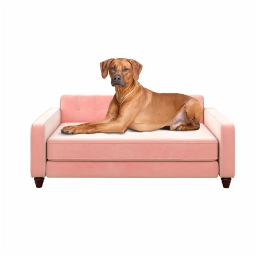 Ollie & Hutch Pin Tufted Pet Sofa, Large Size, Pink Velvet Perspective: front
