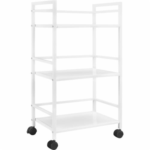 Marshall 3 Shelf Metal Rolling Utility Cart, White Perspective: front