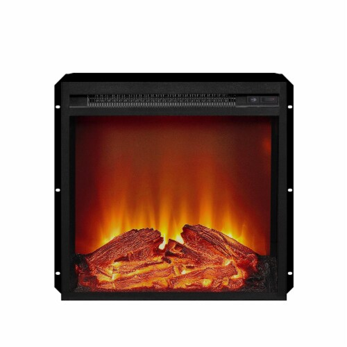 Ameriwood Home 18  x 18  Glass Front Electric Fireplace Insert, Black Perspective: front