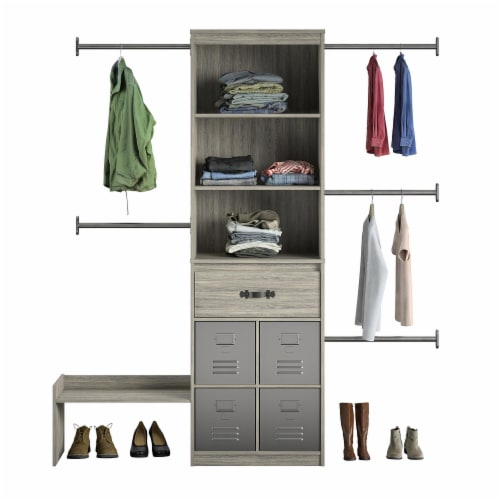 Nova Grow with Me Grey Oak Adjustable Kids' Closet Organizer System Perspective: front