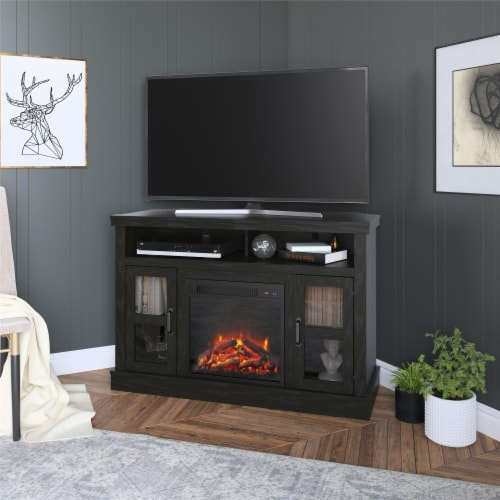 """Tinley Park Corner TV Stand with Fireplace for TVs up to 54"""", Black Oak Perspective: front"""