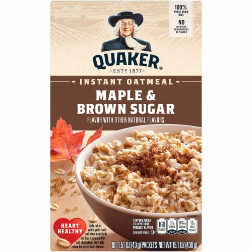 Quaker Maple and Brown Sugar Instant Oatmeal Packets Perspective: front