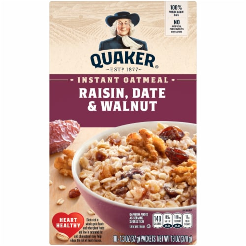 Quaker Instant Oatmeal Breakfast Cereal Raisin Date Walnut 10 Count Perspective: front
