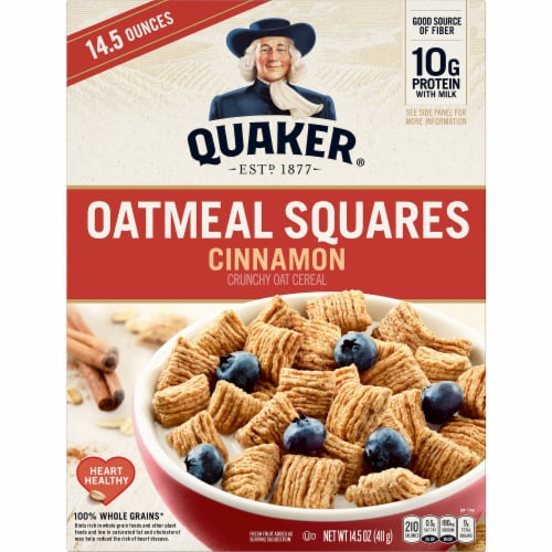Quaker Cinnamon Oatmeal Squares Breakfast Cereal Perspective: front
