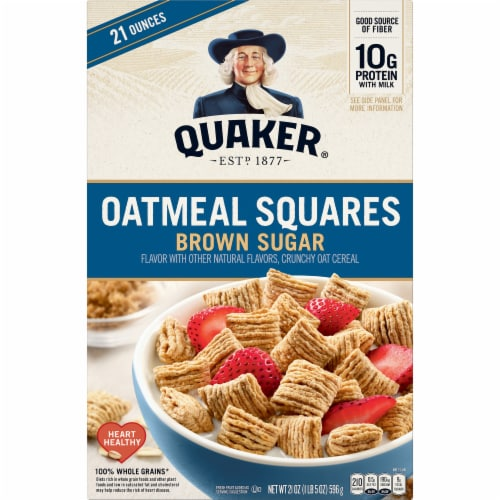 Quaker Brown Sugar Oatmeal Squares Breakfast Cereal Perspective: front