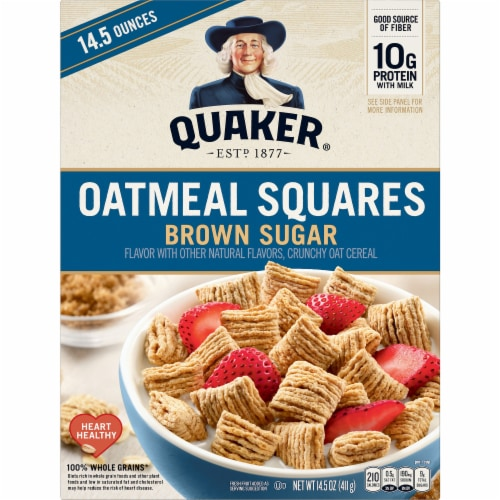 Quaker® Brown Sugar Oatmeal Squares Breakfast Cereal Perspective: front
