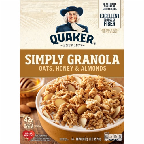 Quaker Simply Granola Oats Honey and Almonds Breakfast Cereal Perspective: front