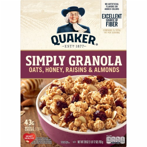 Quaker Simply Granola Oats Honey Raisins and Almonds Breakfast Cereal 28 oz Perspective: front