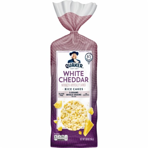 Quaker White Cheddar Whole Grain Rice Cakes Perspective: front