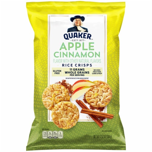 Quaker Rice Crisps Apple Cinnamon Flavor Popped Snacks Perspective: front