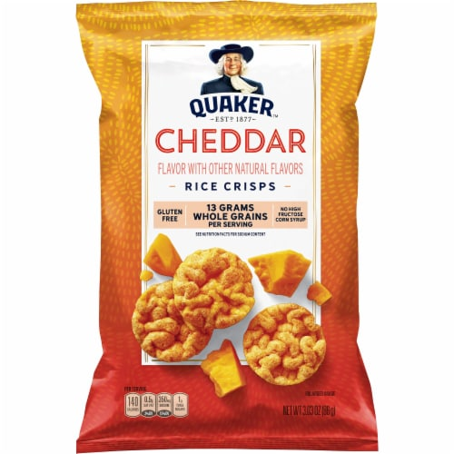 Quaker Rice Crisps Cheddar Flavor Popped Snacks Perspective: front