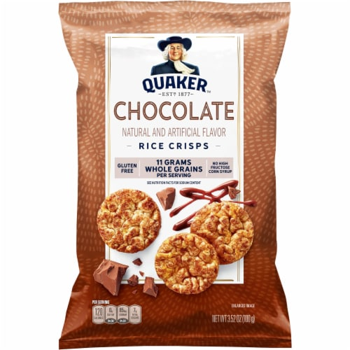 Quaker Rice Cakes Chocolate Popped Snacks Perspective: front