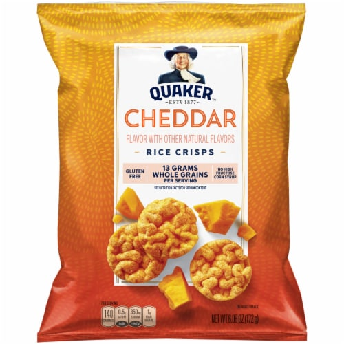 Quaker Rice Crisps Gluten Free Cheddar Cheese Flavor Snacks Big Bag Perspective: front