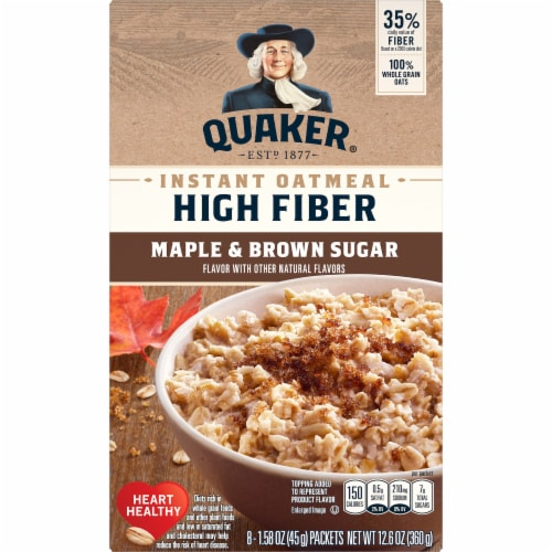 Quaker Instant Oatmeal Breakfast Cereal High Fiber Maple and Brown Sugar Packets Perspective: front