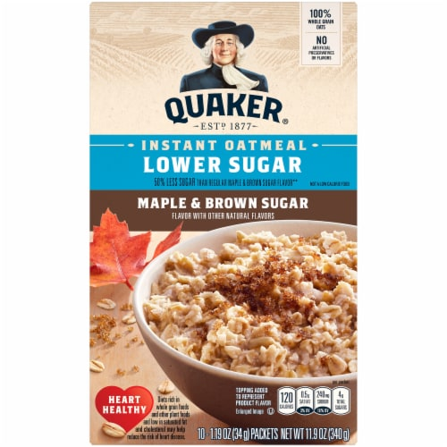 Quaker Breakfast Cereal Lower Sugar Maple and Brown Sugar Instant Oatmeal 10 Count Perspective: front