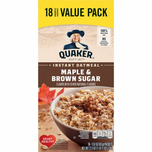 Quaker Breakfast Cereal Maple and Brown Sugar Instant Oatmeal Value Pack Perspective: front