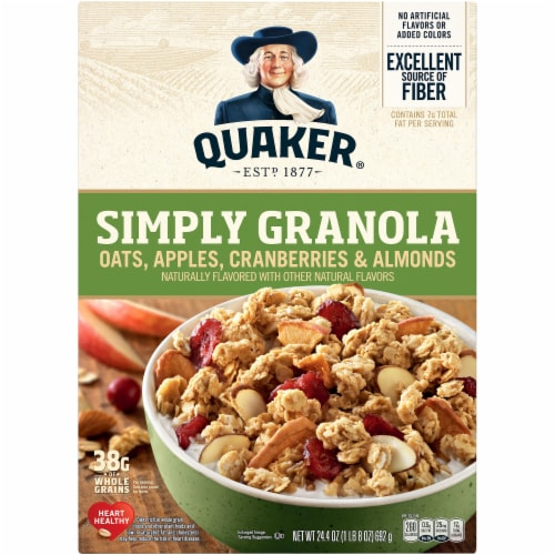 Quaker Simply Granola Oats Apples Cranberries and Almonds Breakfast Cereal Perspective: front