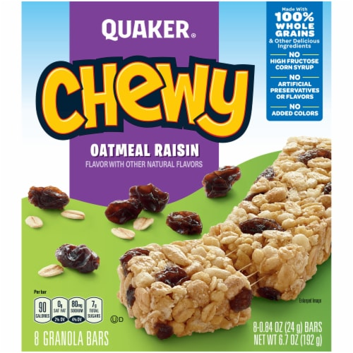 Quaker Chewy Oatmeal Raisin Granola Bars Perspective: front