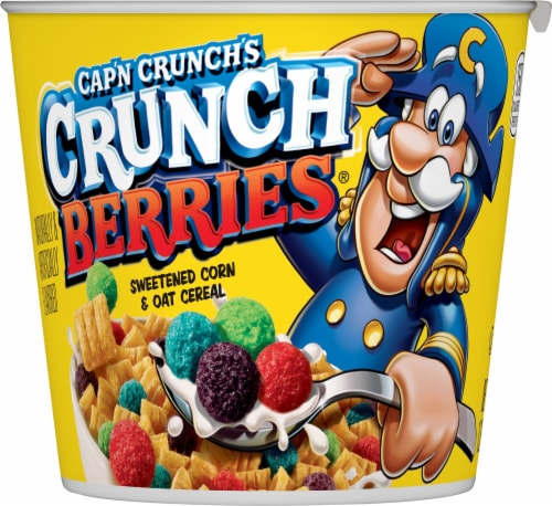 Cap'N Crunch Breakfast Cereal Crunchberries Flavor Corn & Oat Cereal Cup Perspective: front