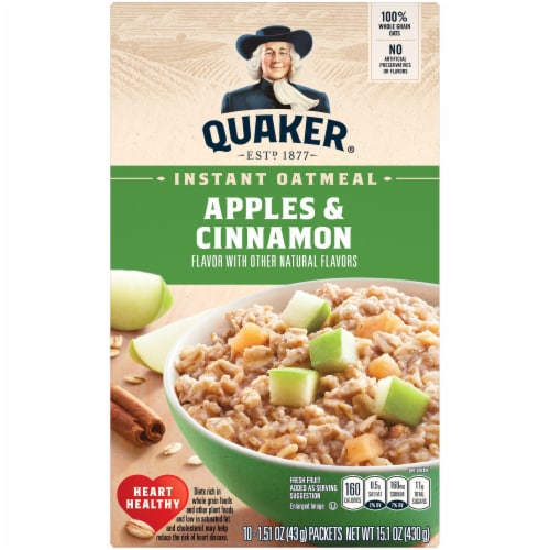 Quaker Apples and Cinnamon Instant Oatmeal Packets Perspective: front