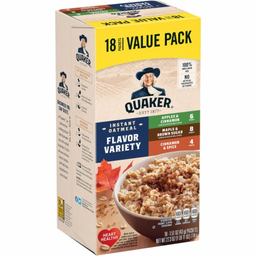 Quaker Instant Oatmeal Breakfast Cereal Flavor Variety Pack 10 Count Perspective: front