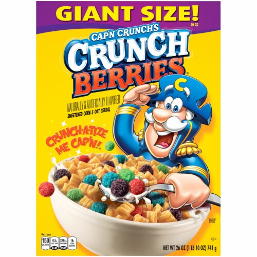 Cap'N Crunch Breakfast Cereal Crunchberries Flavor Corn & Oat Cereal Perspective: front