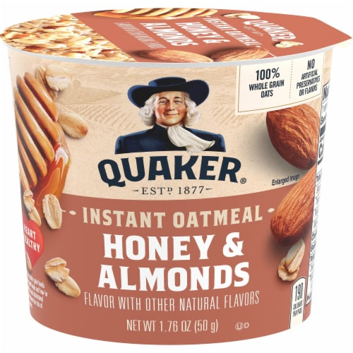 Quaker Instant Oatmeal Express Breakfast Cereal Cup Honey and Almonds Sugar Perspective: front