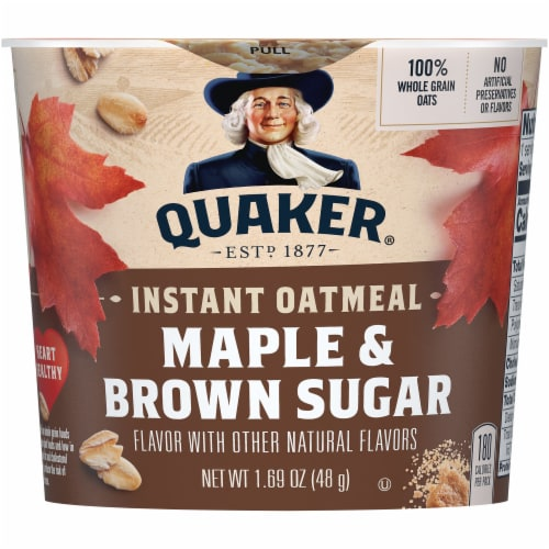 Quaker Maple and Brown Sugar Instant Oatmeal Cereal Cup Perspective: front