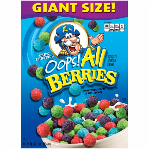 Cap'N Crunch OOPS! All Berries Sweetened Corn & Oat Cereal Perspective: front