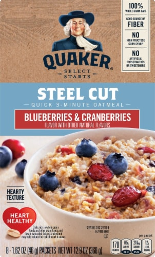 Quaker Select Start Blueberries & Cranberries Steel Cut Instant Oatmeal Packets Perspective: front