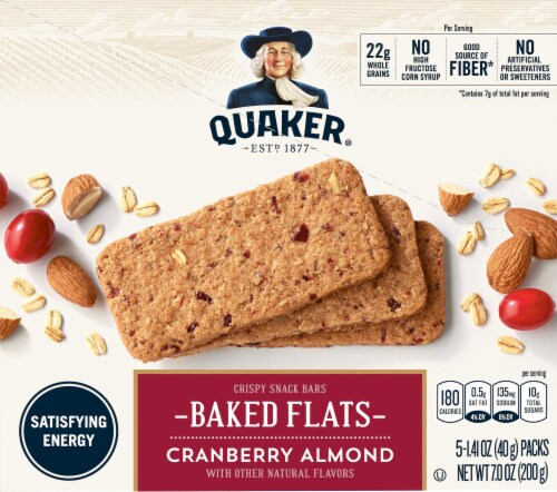 Quaker Breakfast Flats Cranberry Almond Crispy Snack Bars Perspective: front