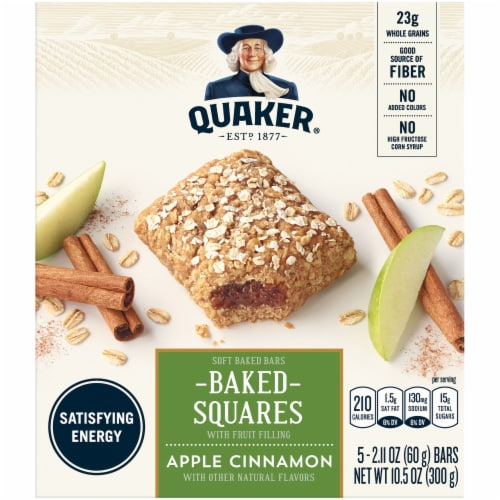 Quaker Baked Squares Apple Cinnamon Soft Baked Breakfast Bars 5 Count Snack Bars Perspective: front
